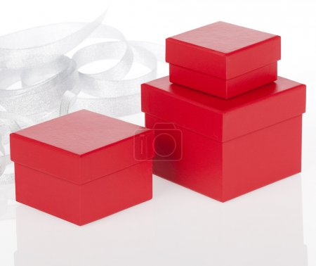 Photo for Red present boxes on white background - Royalty Free Image