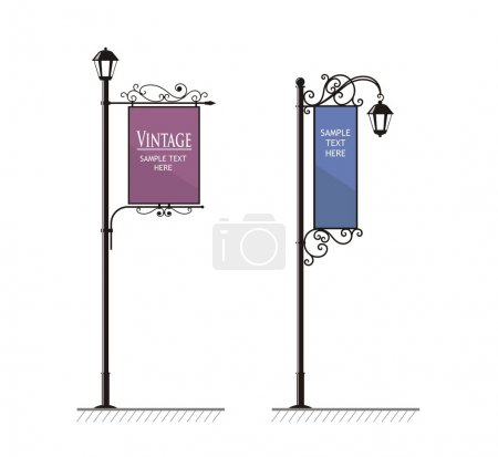 Illustration for Wrought-iron street lamps with a sign for advertising, the vector - Royalty Free Image
