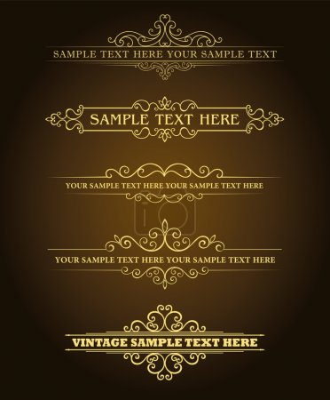 Illustration for Calligraphic old elements vintage decor, vector - Royalty Free Image