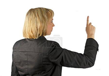 Woman pressing on virtual screen