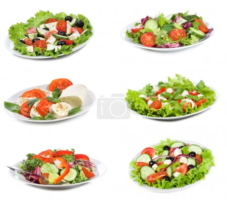 Photo for Set with different salads on white background - Royalty Free Image