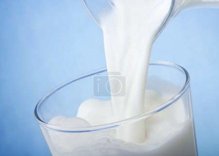 Milk pouring into glass