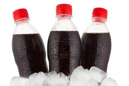 Bottles of cola in ice