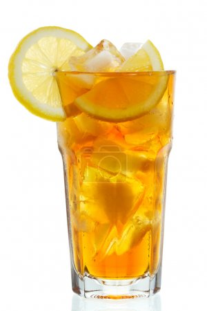 Photo for Glass of ice tea with lemon on white background - Royalty Free Image