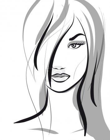 Illustration pour Beauté fille visage. (Illustration vectorielle ) - image libre de droit