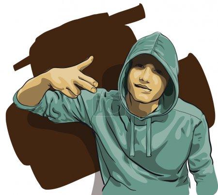 Illustration pour Certains gars avec un visage couvert par une capuche (Illustration vectorielle ) - image libre de droit