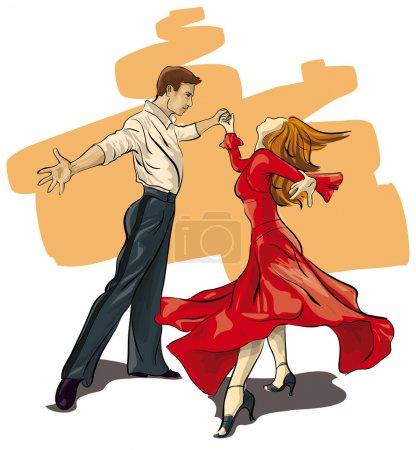 beautiful couple in ballroom dance