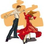 Beautiful couple in ballroom dance (Vector Illustr...