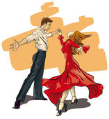 beautiful couple in ballroom dance