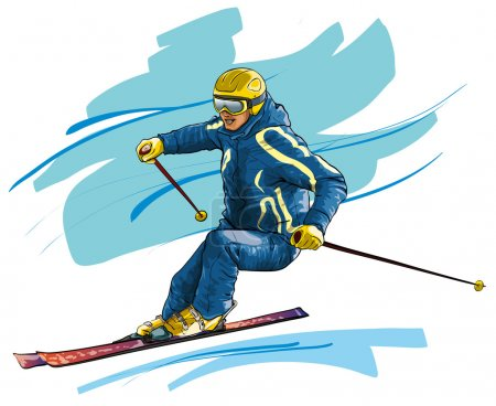 Skiing. High-speed motion