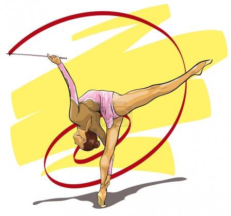 Illustration pour Gymnaste gracieux sport olympique (Illustration vectorielle ) - image libre de droit
