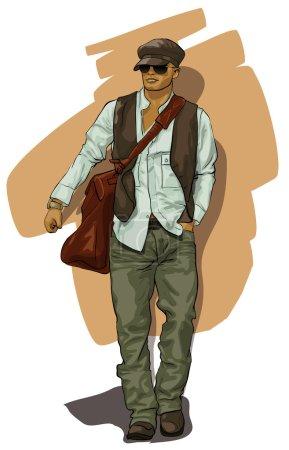 Illustration pour Bel homme dans des vêtements élégants (Vector Illustratio ) - image libre de droit