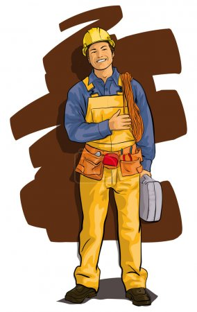 worker, a happy man in overalls and a tool