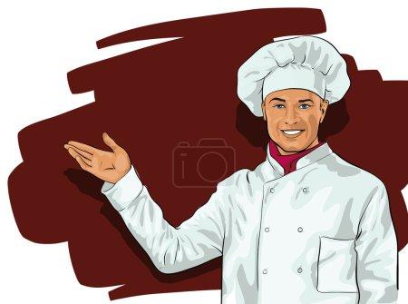 Illustration pour Cuisinier, un gentil jeune homme (Vector Illustratio ) - image libre de droit