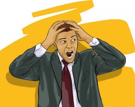 Illustration for A young man in shock (Vector Illustratio) - Royalty Free Image