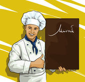 chef with menu board for