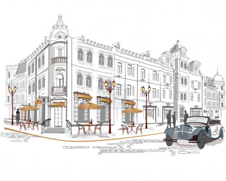 Illustration for Series of street cafes in old city - Royalty Free Image