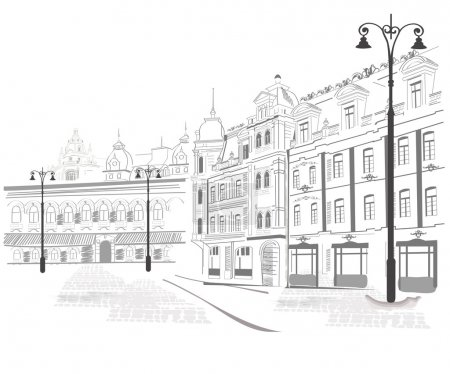 Photo for Sketches of streets in the old city - Royalty Free Image