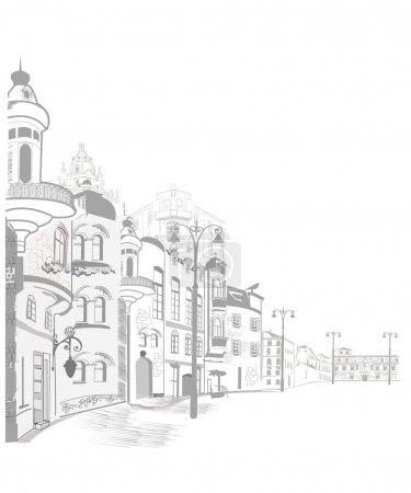Illustration pour Série des vieilles rues de croquis dans la vieille ville - image libre de droit