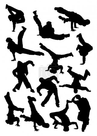 Silhouette of breakdancer