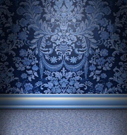 Photo pour Belle chambre damassée bleue avec tapis bleu clair - image libre de droit