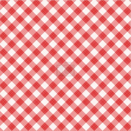 Illustration for Red and white gingham cloth background with fabric texture, suitable for Mother's Day designs, plus seamless pattern included in swatch palette - Royalty Free Image