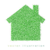 Green house on white background
