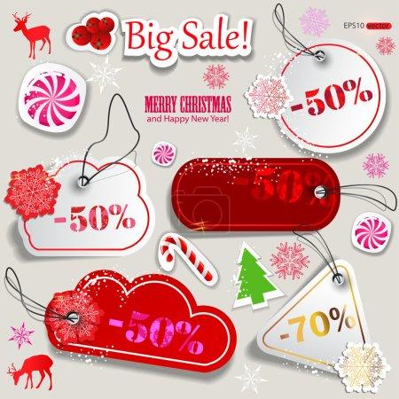 Illustration pour Vente de Noël. coupons de réduction papier - image libre de droit