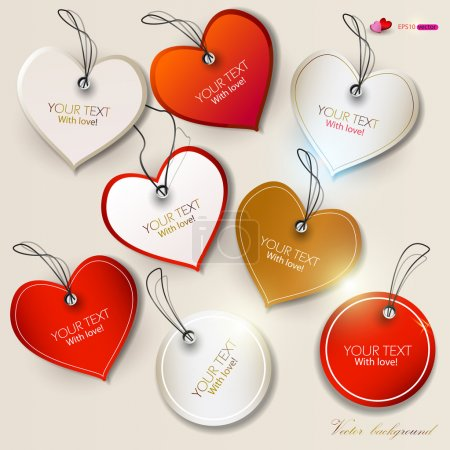 Photo for Set of bubbles, stickers, labels, tags. Shape of hearts. Valentine's Day - Royalty Free Image