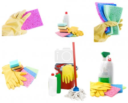 Photo for Collection of cleaning products and tools on white - Royalty Free Image