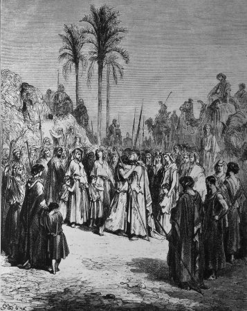 The reconciliation between Israel and Esau.