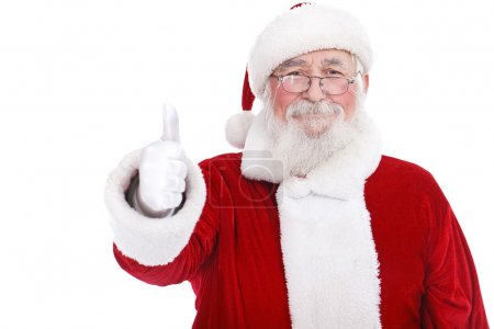 Photo for Authentic Santa Claus with real beard and great smiling giving thumb up, isolated on white background - Royalty Free Image