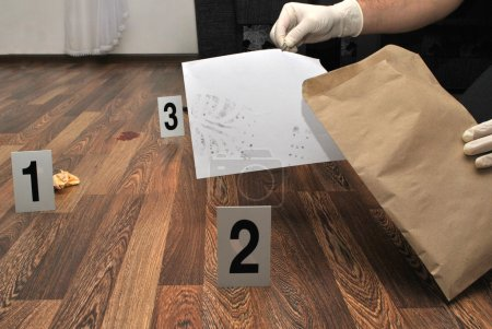 Photo for Crime scene- revealing and preserving criminological tracks - Royalty Free Image