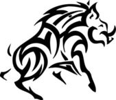 Boar in tribal style - vector illustration