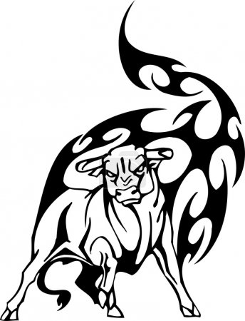 Bull in tribal style - vector image.
