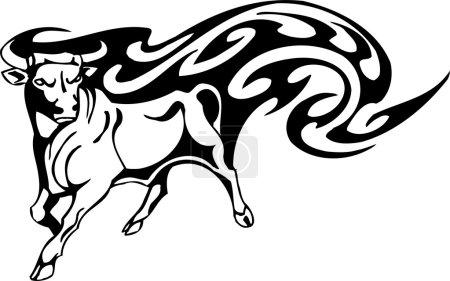 Bull in tribal style - vector image.