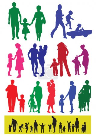 Illustration for Silhouettes of parents and children. Little silhouettes are a view from behind somewhere looking - Royalty Free Image