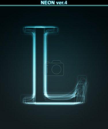Photo pour Fonte Glow neon. Lettre brillante L sur fond noir . - image libre de droit