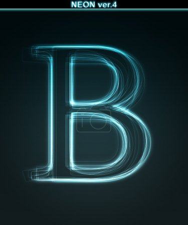 Glowing neon font. Shiny letter B