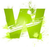 Green abstract paint splashes font Letter W