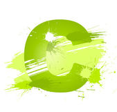 Green abstract paint splashes font Letter C