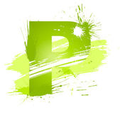 Green abstract paint splashes font Letter P
