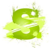 Green abstract paint splashes font Letter S