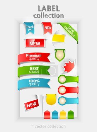Ilustración de Colección de etiquetas. pegatina de vector para el texto. la cinta, banner, marcadores. símbolos de diseño. - Imagen libre de derechos