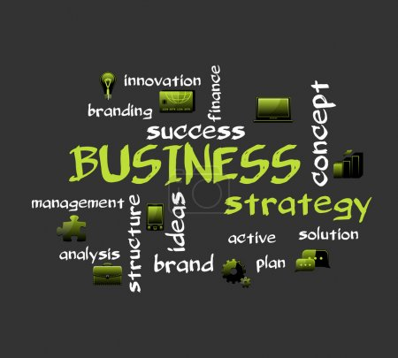 Illustration for BUSINESS strategy. Creative vector background with icons. - Royalty Free Image