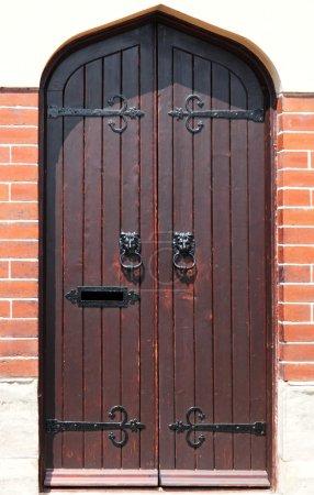 Decorative gilded lion head door knob on wooden door