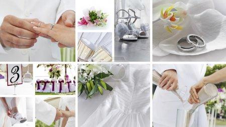 Photo pour Collage thème mariage composé de différentes images - image libre de droit