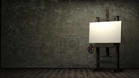 Empty white canvas for artist on wooden easel in dark room 3d