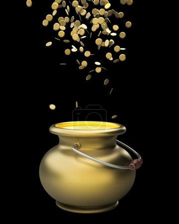 Photo pour Pot d'or plein de pièces d'or rendu 3d - image libre de droit