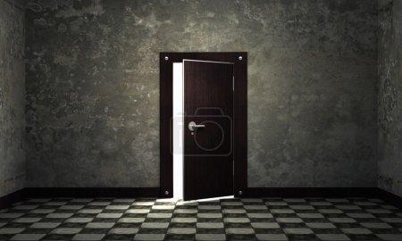 Bright light through an open door in empty room 3d background